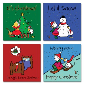 image of 4 Goose Christmas cards