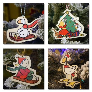 image of four Goose Christmas tree decorations